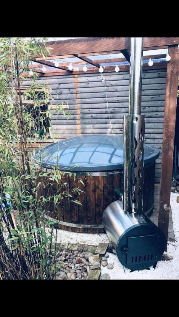 fiberglass hot tub with external heater