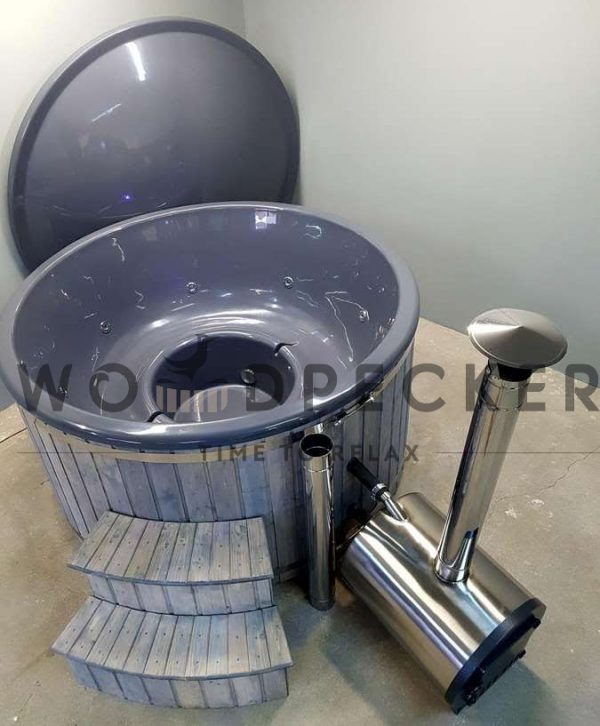 Woodpecker fiber glass hot tub, hot tubs, fiberglass tub, fiberglass hot tubs, hot tub with external heater